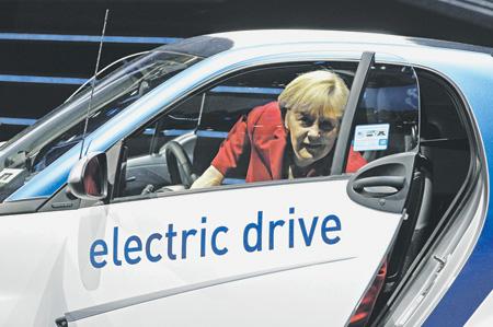 Канцлерин на электромобиль